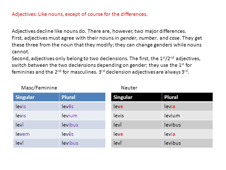 Adjectives: Like nouns, except of course for the differences.