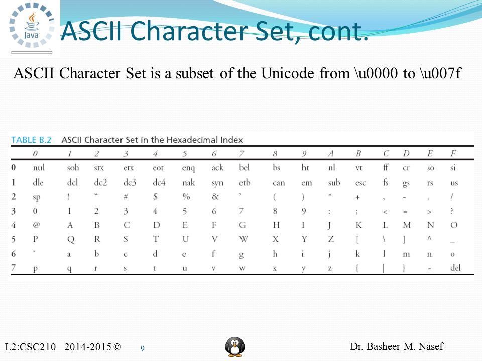 L2:CSC210 2014-2015 © Dr. Basheer M. Nasef 9 ASCII Character Set, cont.