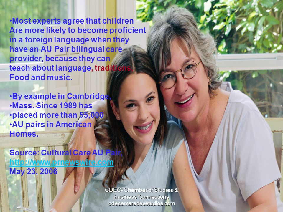In conclusion: some of the most important aspects that contribute to the process of a child becoming bilingual are: Growing up in a bilingual environment (Bloom, 1964; Coleman, 1991; Laosa, 1975; Soto, 1992; Wong Fillmore, 1991; Walberg, 1984), with common bilingual patterns: Immigration Migration Close contact with other linguistic groups Schooling Growing up in a bilingual family CDEC- Chamber of Studies & business Connections cdecamaradeestudios.com