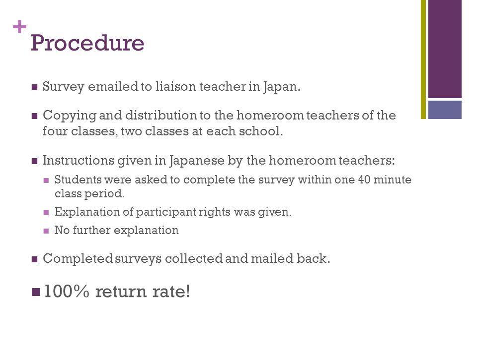 + Procedure Survey emailed to liaison teacher in Japan.