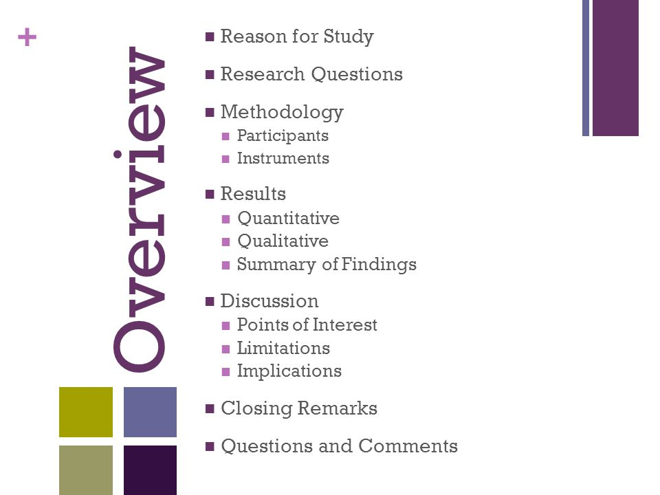 + Overview Reason for Study Research Questions Methodology Participants Instruments Results Quantitative Qualitative Summary of Findings Discussion Points of Interest Limitations Implications Closing Remarks Questions and Comments