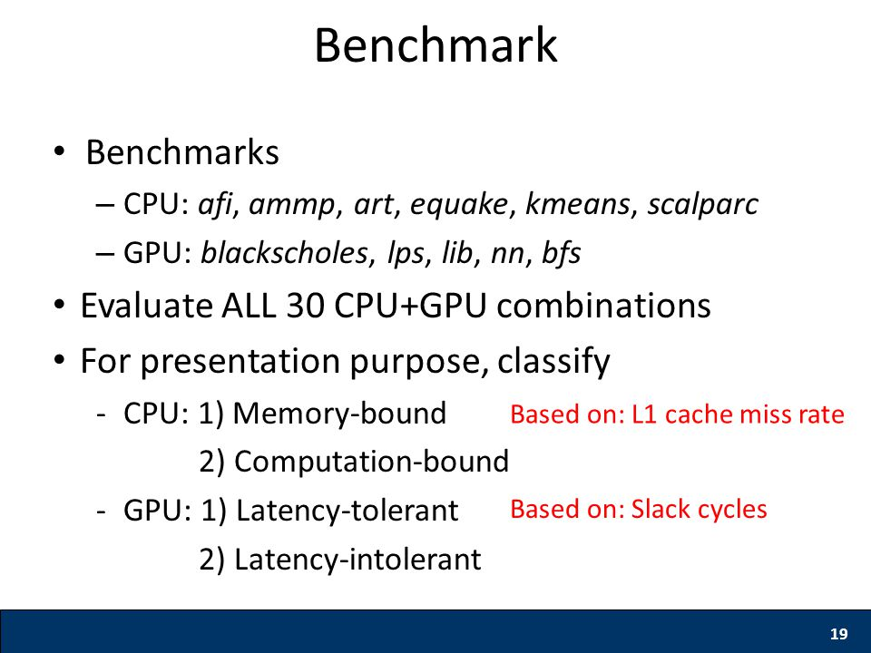 19 Benchmark Benchmarks – CPU: afi, ammp, art, equake, kmeans, scalparc – GPU: blackscholes, lps, lib, nn, bfs Evaluate ALL 30 CPU+GPU combinations Fo