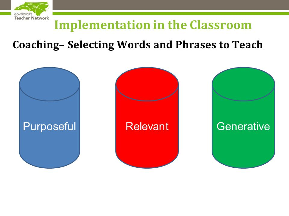 Implementation in the Classroom Coaching– Selecting Words and Phrases to Teach PurposefulRelevantGenerative