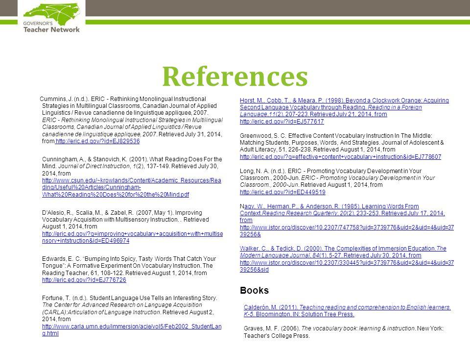 References Cummins, J.(n.d.).