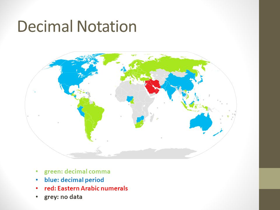 Decimal Notation green: decimal comma blue: decimal period red: Eastern Arabic numerals grey: no data