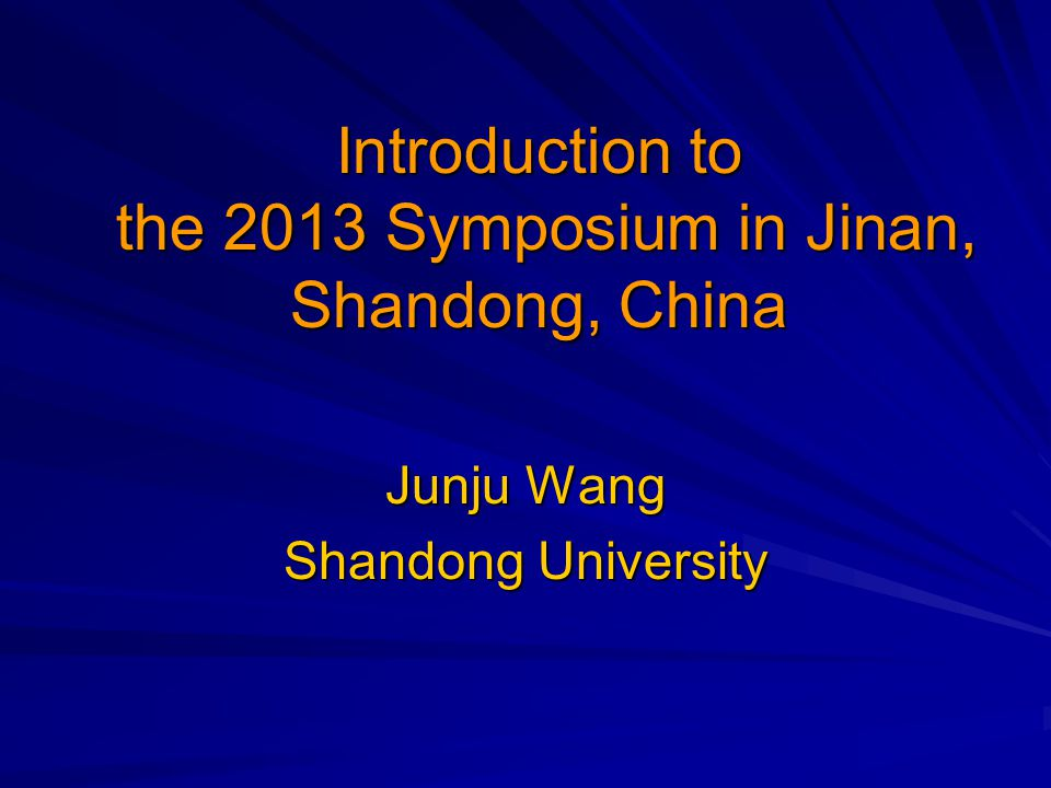 The city The university The school The China symposium The 2013 symposium What we plan to do