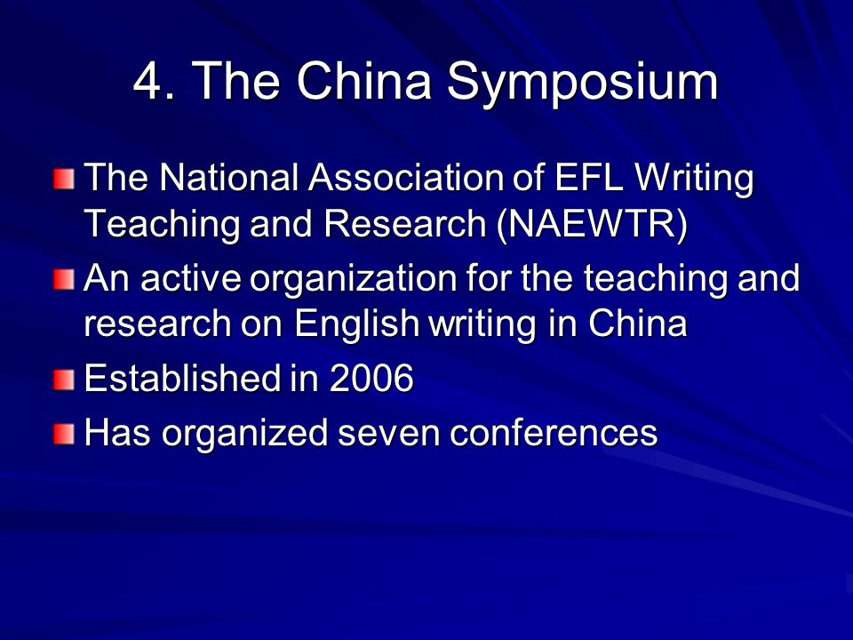 4. The China Symposium The National Association of EFL Writing Teaching and Research (NAEWTR) An active organization for the teaching and research on