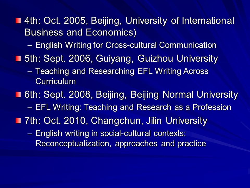 4th: Oct. 2005, Beijing, University of International Business and Economics) –English Writing for Cross-cultural Communication 5th: Sept. 2006, Guiyan