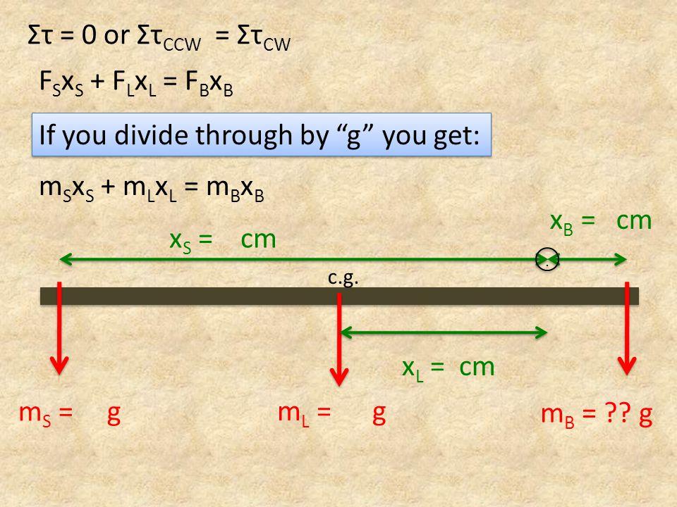 x S = cm x B = cm m L = g c.g... m S = g m B = .