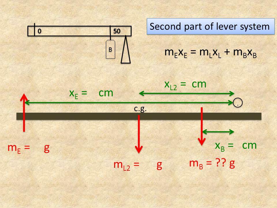 x E = cm x B = cm m L2 = g c.g... m E = g m B = .
