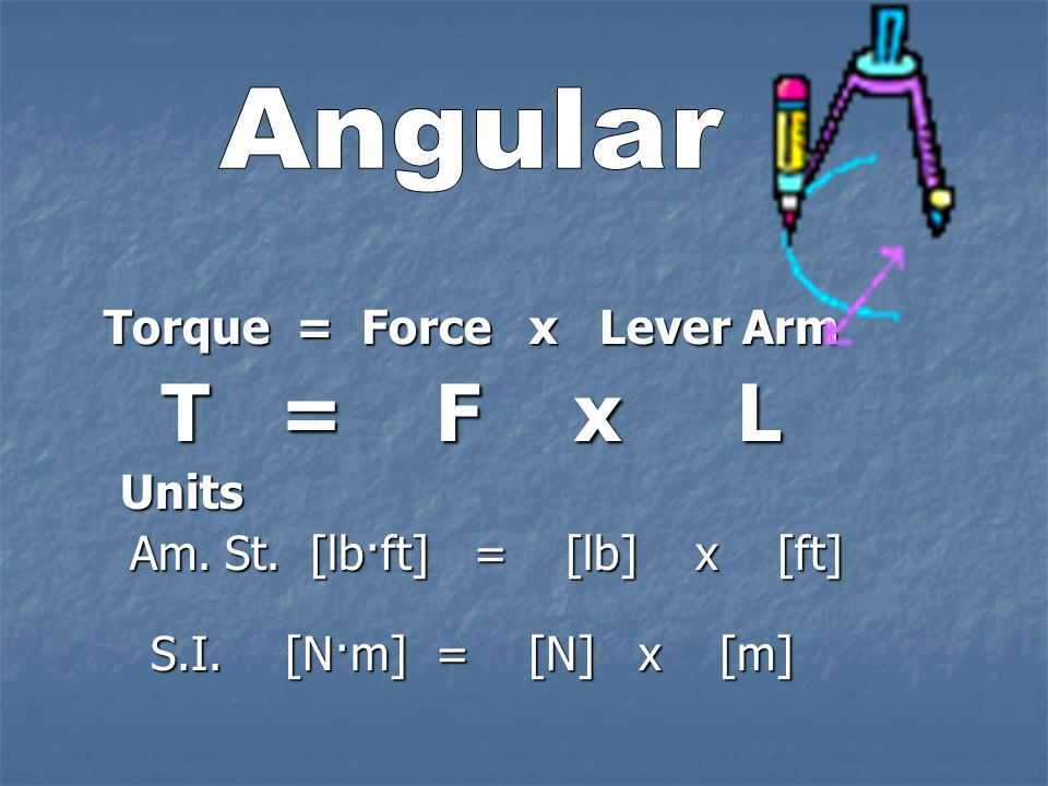 acceleration due to gravity gravity = a a = 32 ft/s 2 Am. St. Am. St. a = 9.8 m/s 2 S.I. S.I.