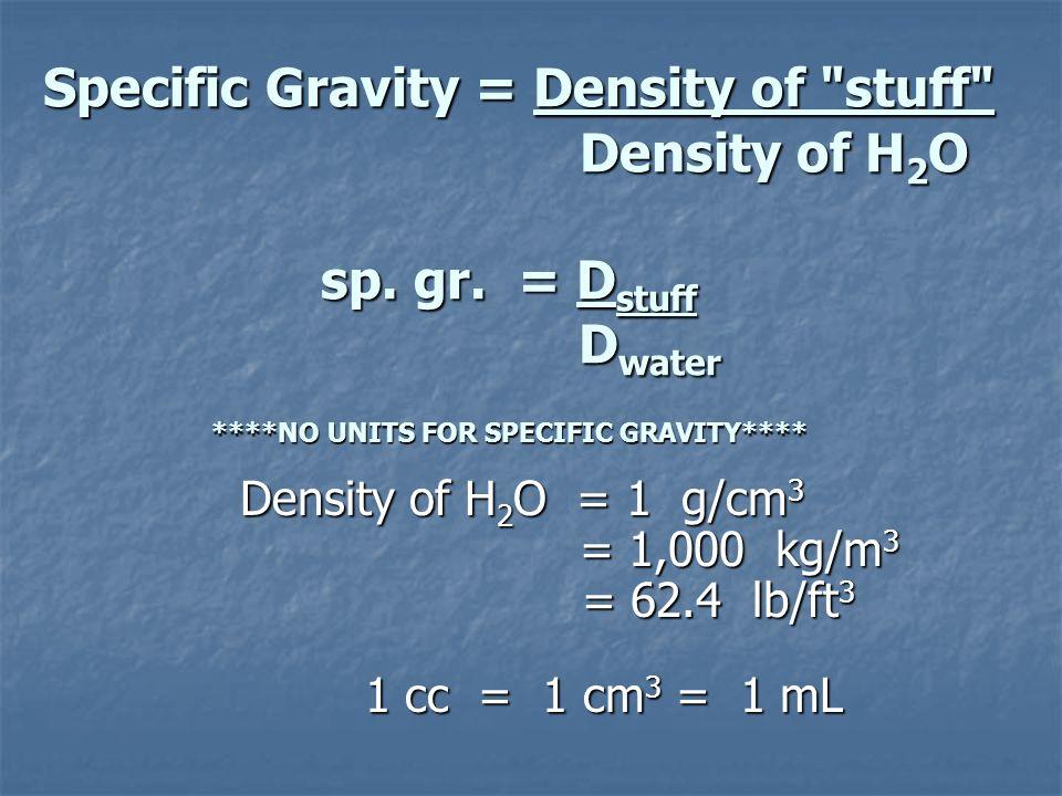 Specific Gravity = Density of stuff Density of H 2 O sp.