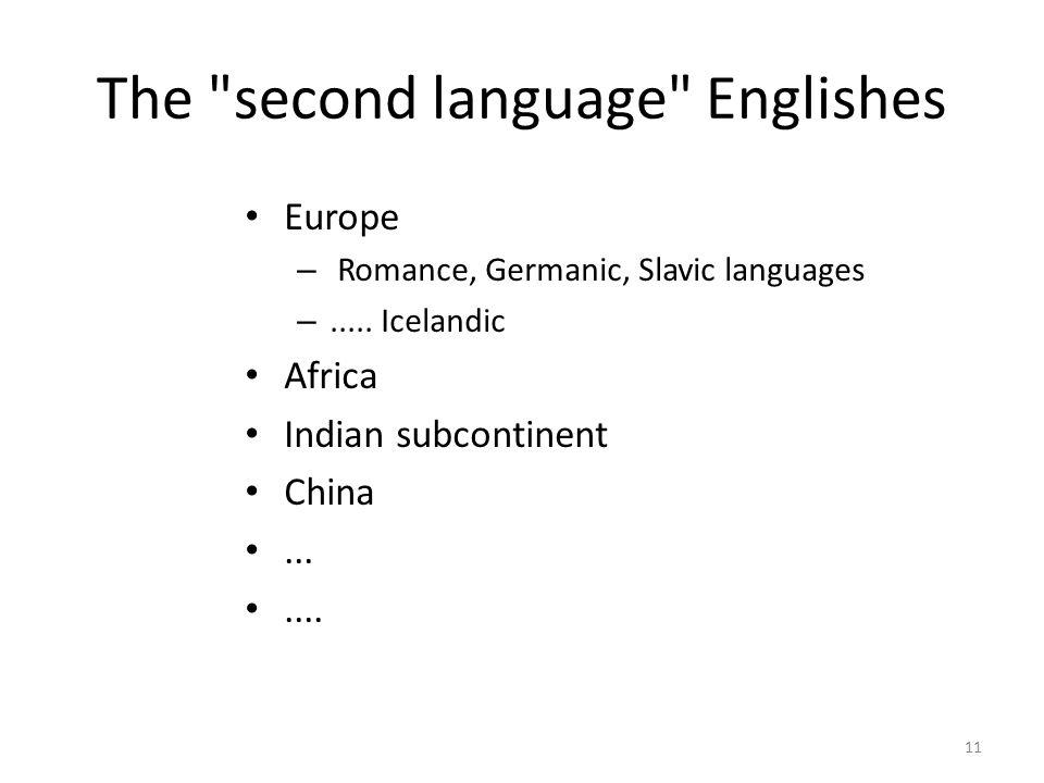 The second language Englishes Europe – Romance, Germanic, Slavic languages –.....
