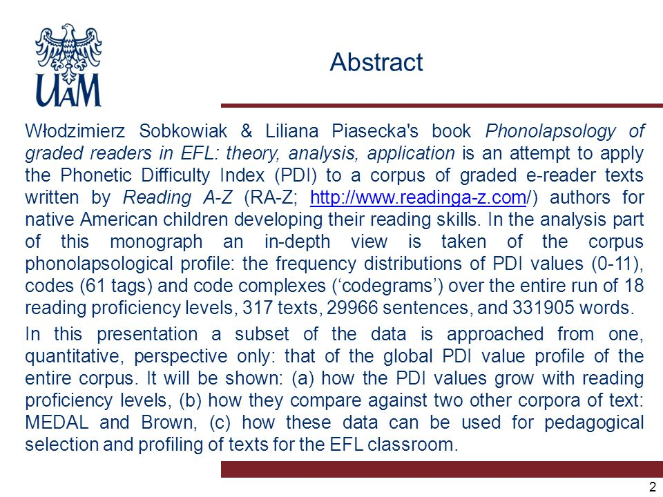 Contents 1.PDI as a tool 2. RA-Z as a corpus 3. RA-Z texts for EFL.