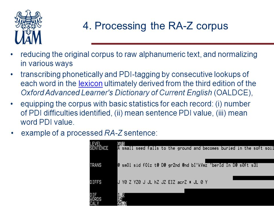 4. Processing the RA-Z corpus reducing the original corpus to raw alphanumeric text, and normalizing in various ways transcribing phonetically and PDI