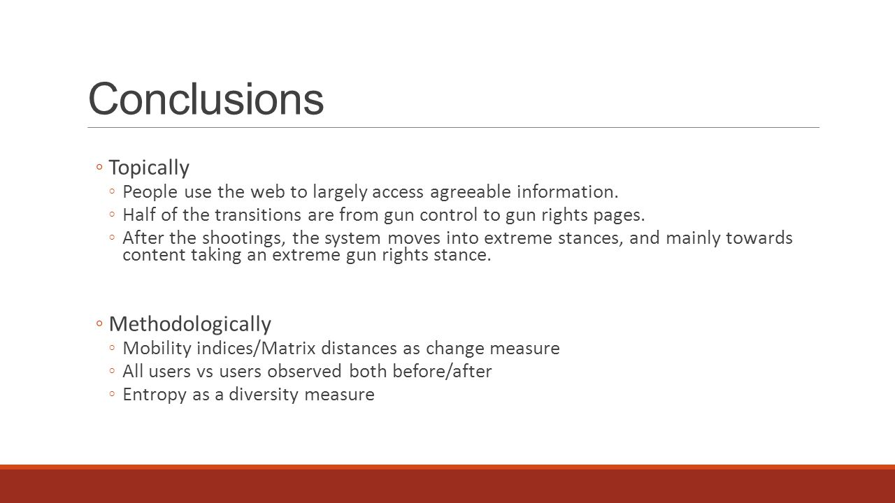 Conclusions ◦Topically ◦People use the web to largely access agreeable information.