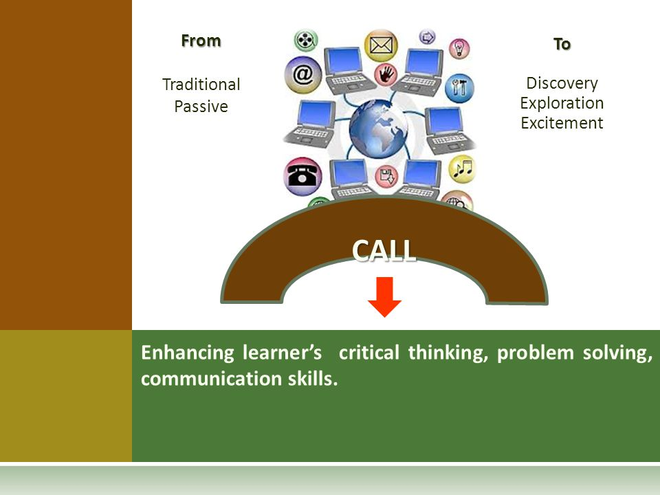 From Traditional Passive To Discovery Exploration Excitement CALL Enhancing learner's critical thinking, problem solving, communication skills.