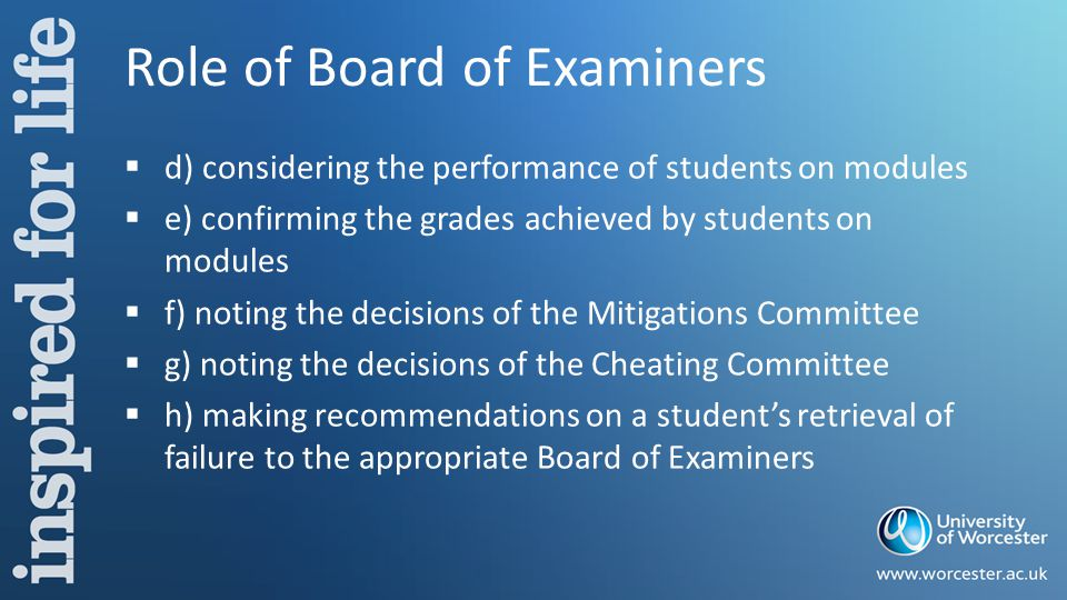 Role of Board of Examiners  d) considering the performance of students on modules  e) confirming the grades achieved by students on modules  f) noting the decisions of the Mitigations Committee  g) noting the decisions of the Cheating Committee  h) making recommendations on a student's retrieval of failure to the appropriate Board of Examiners