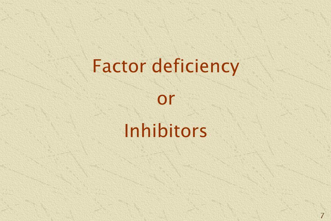 7 Factor deficiency or Inhibitors