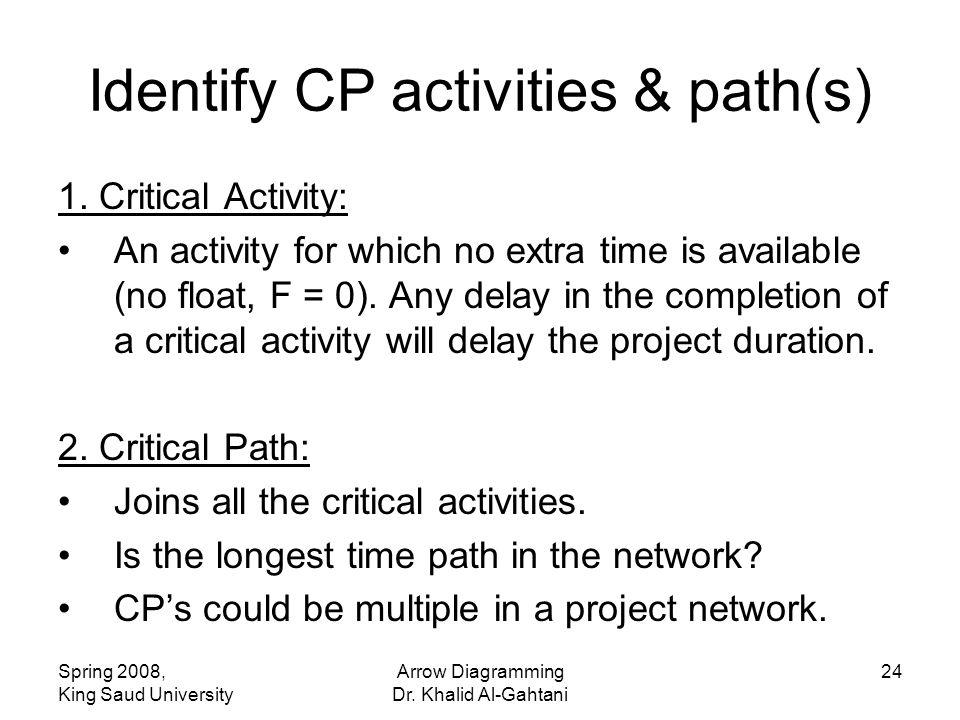 Spring 2008, King Saud University Arrow Diagramming Dr. Khalid Al-Gahtani 24 Identify CP activities & path(s) 1. Critical Activity: An activity for wh