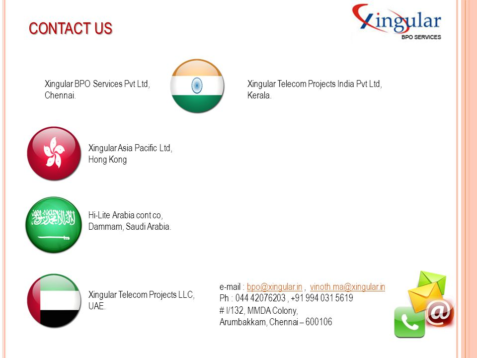 CONTACT US Xingular BPO Services Pvt Ltd, Chennai. Xingular Telecom Projects India Pvt Ltd, Kerala. Xingular Asia Pacific Ltd, Hong Kong Xingular Tele