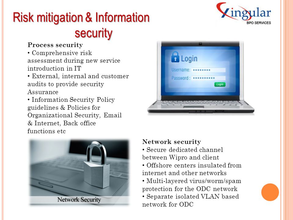 Risk mitigation & Information security security Process security Comprehensive risk assessment during new service introduction in IT External, interna
