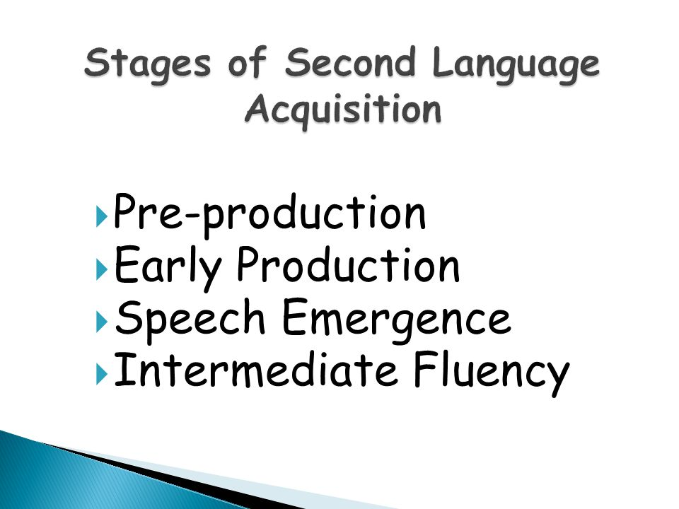  Pre-production  Early Production  Speech Emergence  Intermediate Fluency