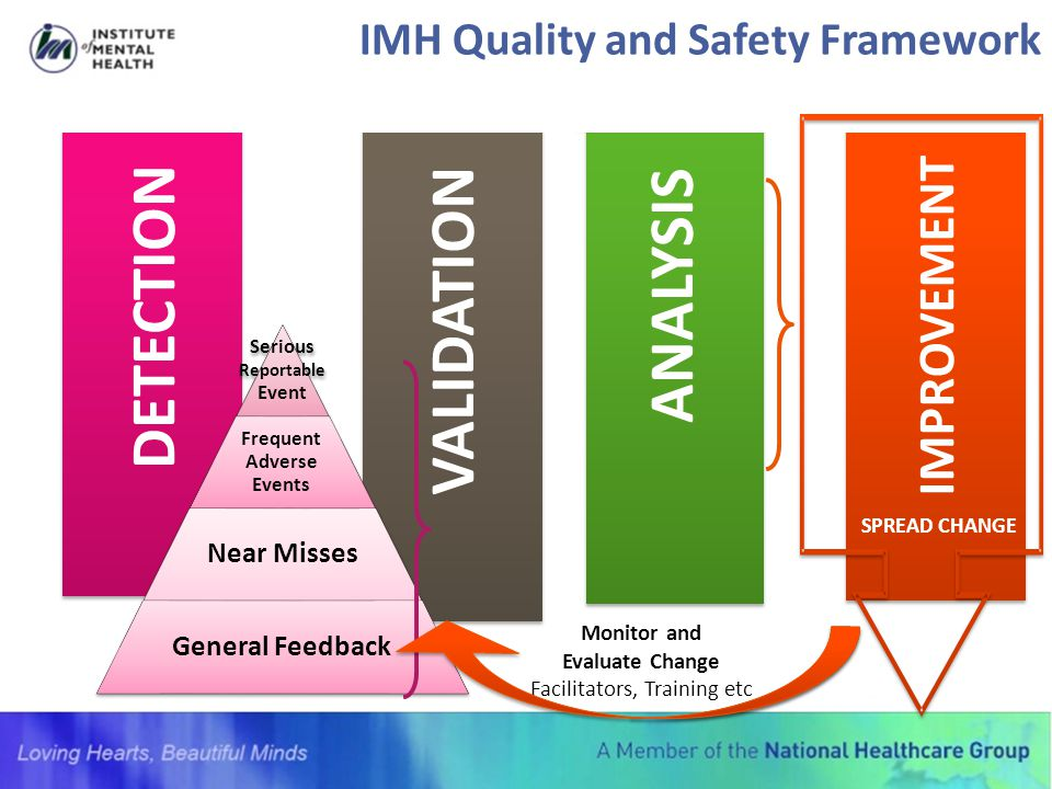 IMH Quality and Safety Framework DETECTION VALIDATION ANALYSIS IMPROVEMENT SPREAD CHANGE Monitor and Evaluate Change Facilitators, Training etc