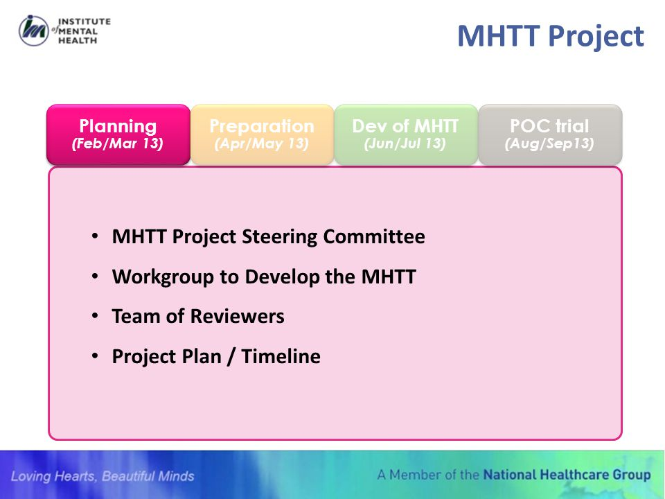 MHTT Project Steering Committee Workgroup to Develop the MHTT Team of Reviewers Project Plan / Timeline Planning (Feb/Mar 13) Planning (Feb/Mar 13) Pr