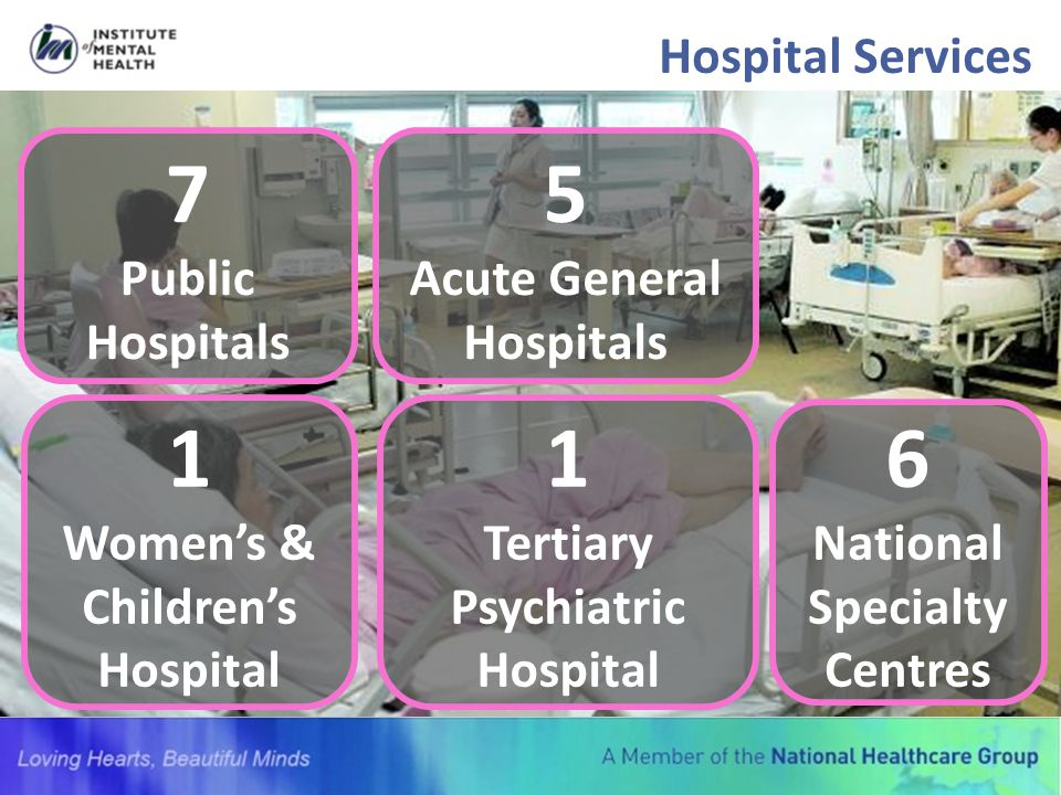 Hospital Services 7 Public Hospitals 5 Acute General Hospitals 1 Women's & Children's Hospital 1 Tertiary Psychiatric Hospital 6 National Specialty Ce