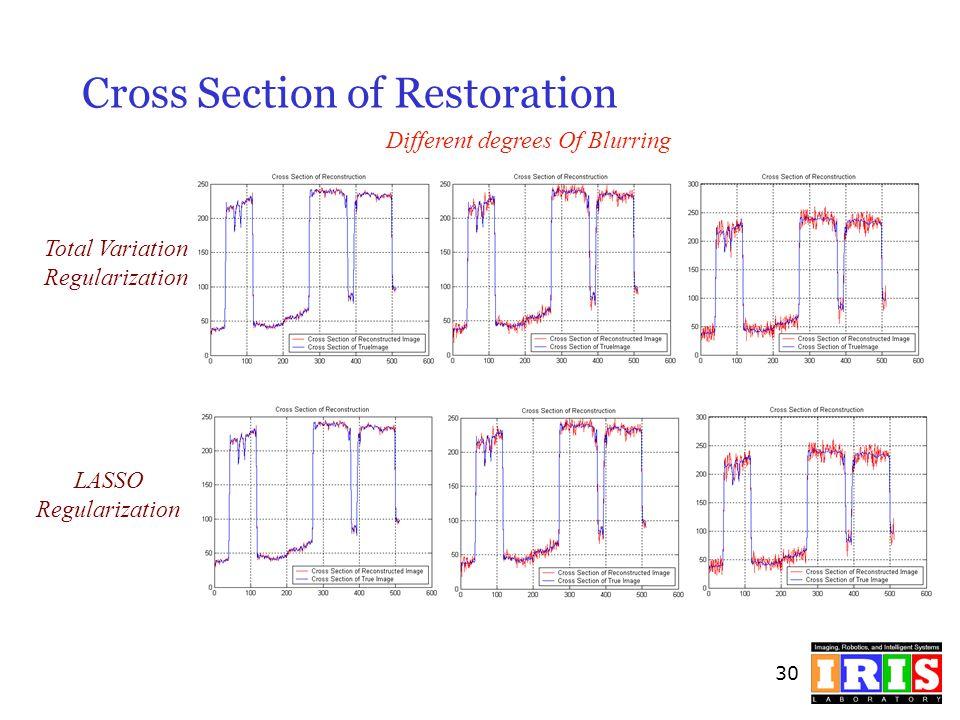 30 Cross Section of Restoration Total Variation Regularization LASSO Regularization Different degrees Of Blurring