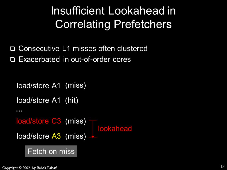 Copyright © 2002 by Babak Falsafi 13 Insufficient Lookahead in Correlating Prefetchers  Consecutive L1 misses often clustered  Exacerbated in out-of-order cores load/store A1 (miss) load/store A1(hit) load/store C3(miss)...
