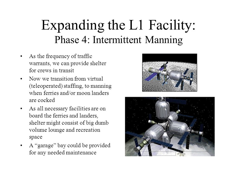 Expanding the L1 Facility: Phase 4: Intermittent Manning As the frequency of traffic warrants, we can provide shelter for crews in transit Now we transition from virtual (teleoperated) staffing, to manning when ferries and/or moon landers are cocked As all necessary facilities are on board the ferries and landers, shelter might consist of big dumb volume lounge and recreation space A garage bay could be provided for any needed maintenance