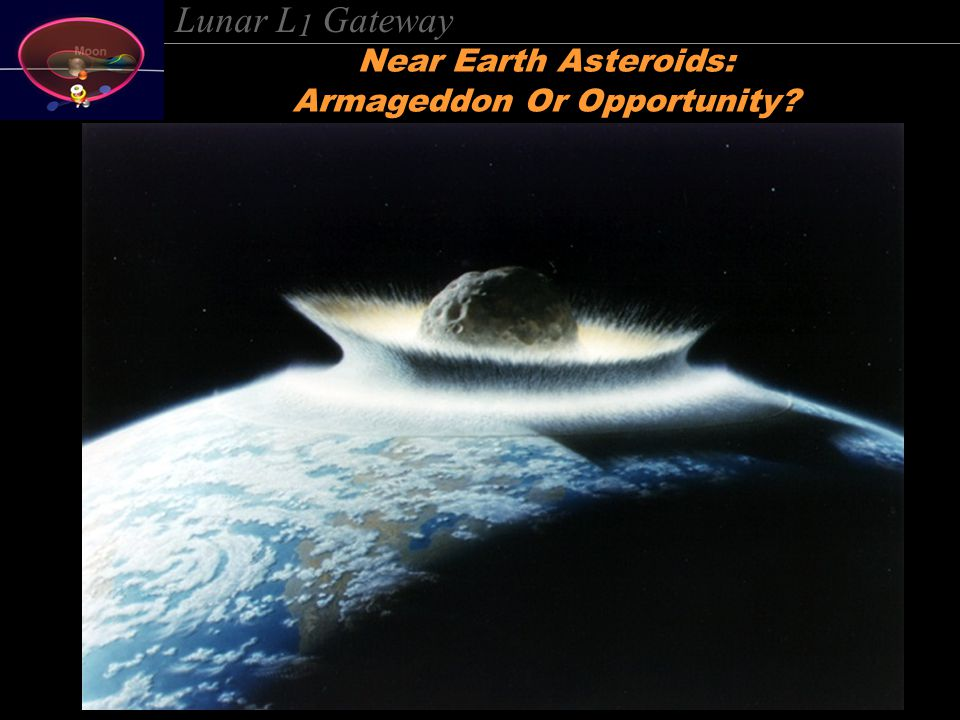 Lunar L 1 Gateway Near Earth Asteroids: Armageddon Or Opportunity