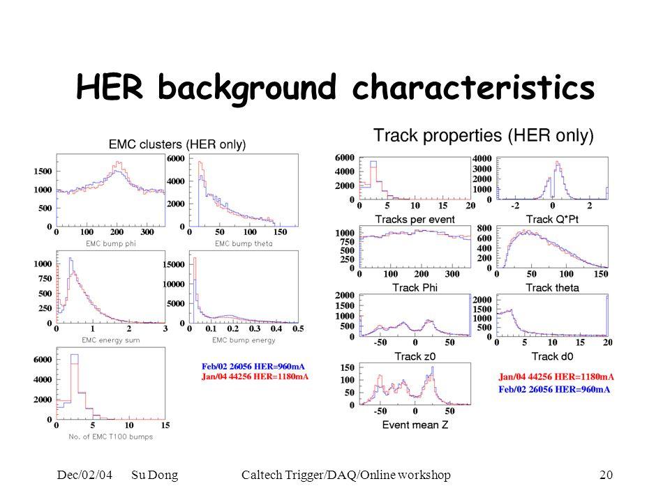Dec/02/04 Su DongCaltech Trigger/DAQ/Online workshop20 HER background characteristics