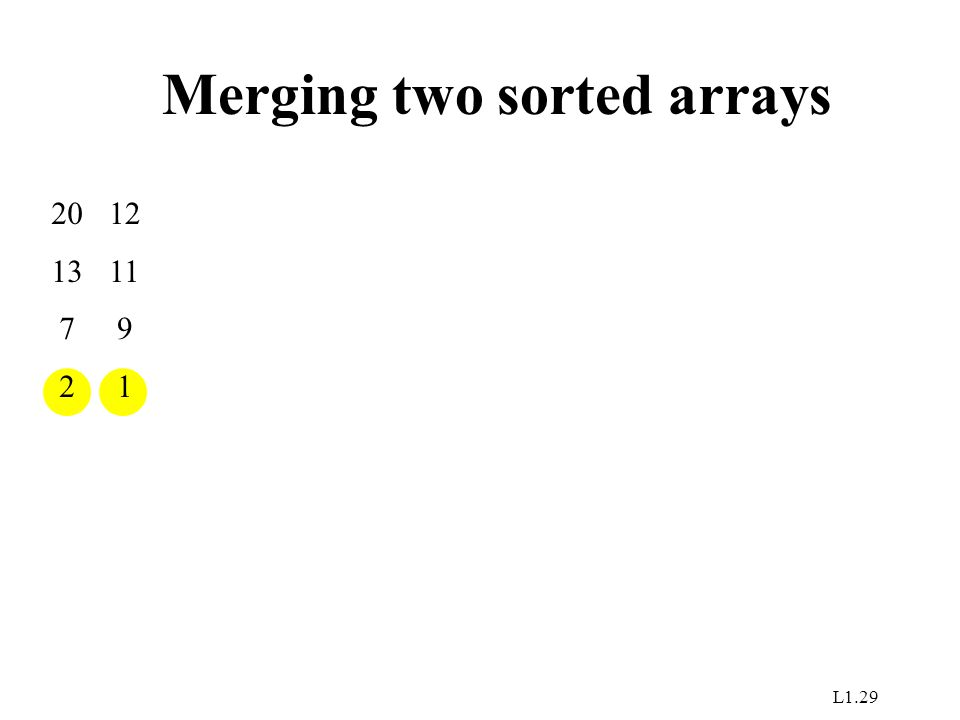 L1.29 Merging two sorted arrays 20 13 7 2 12 11 9 1