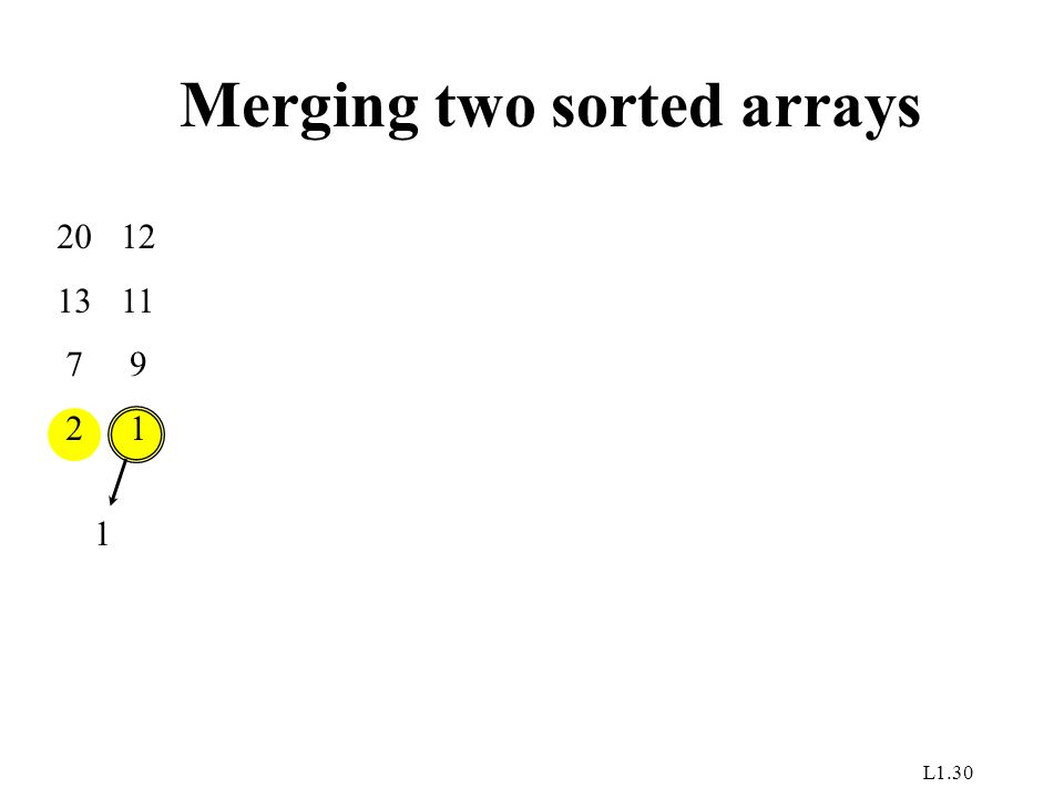 L1.30 Merging two sorted arrays 20 13 7 2 12 11 9 1 1