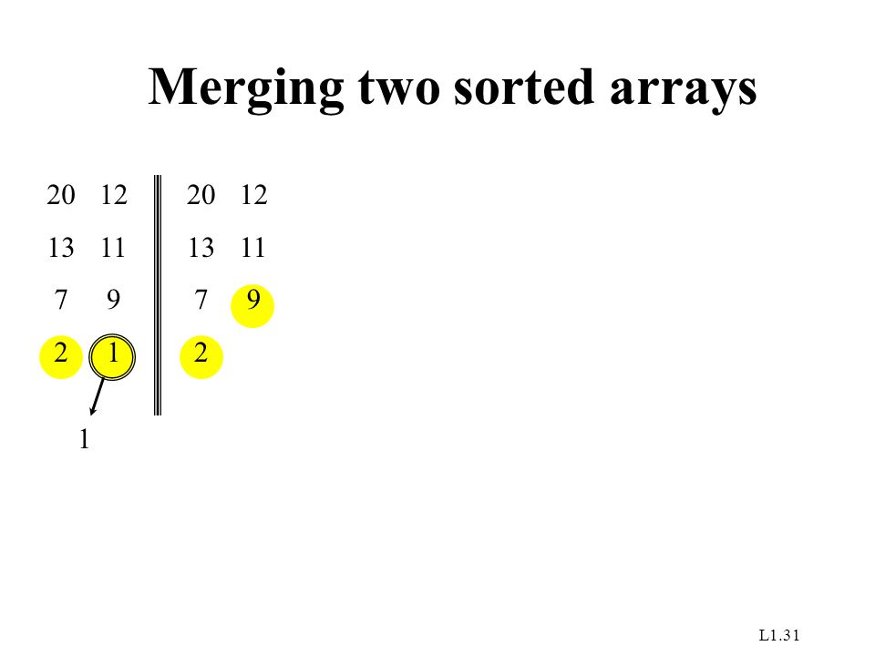 L1.31 Merging two sorted arrays 20 13 7 2 12 11 9 1 1 20 13 7 2 12 11 9