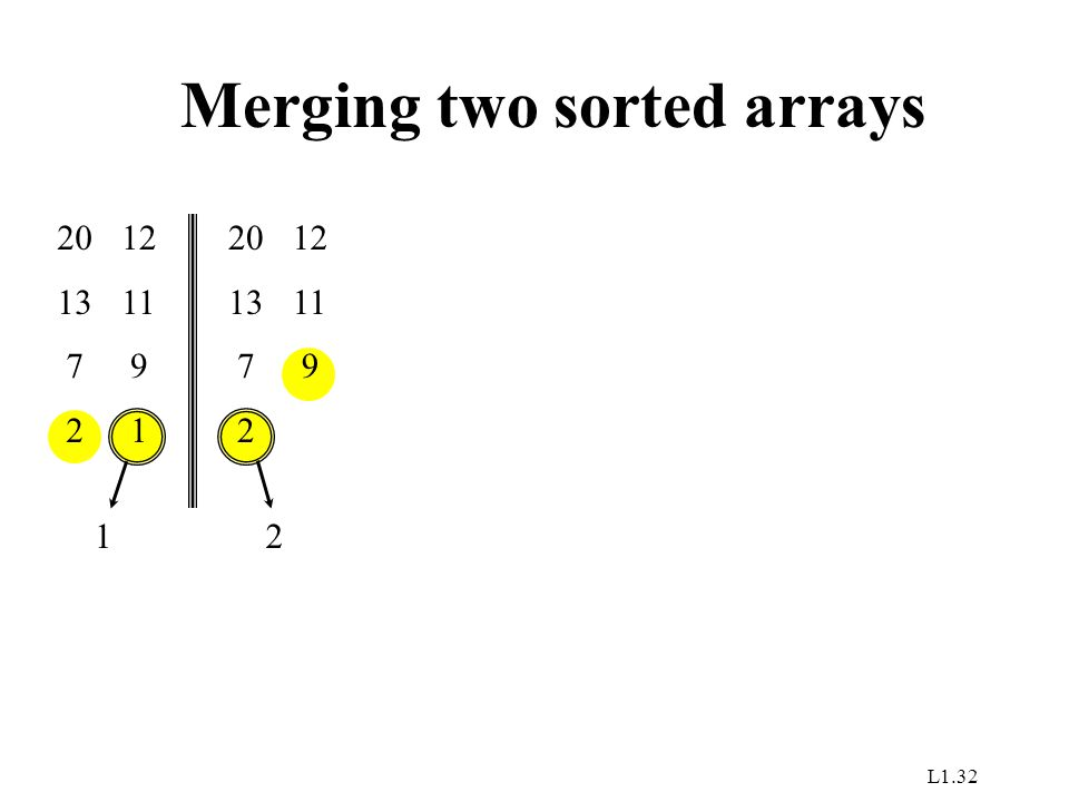 L1.32 Merging two sorted arrays 20 13 7 2 12 11 9 1 1 20 13 7 2 12 11 9 2