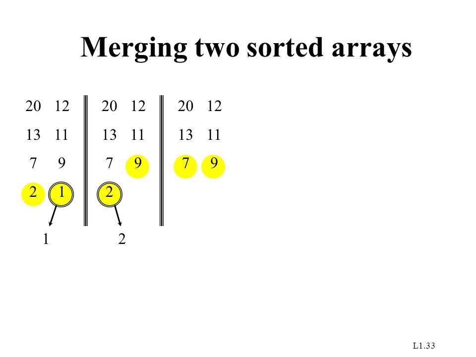 L1.33 Merging two sorted arrays 20 13 7 2 12 11 9 1 1 20 13 7 2 12 11 9 2 20 13 7 12 11 9