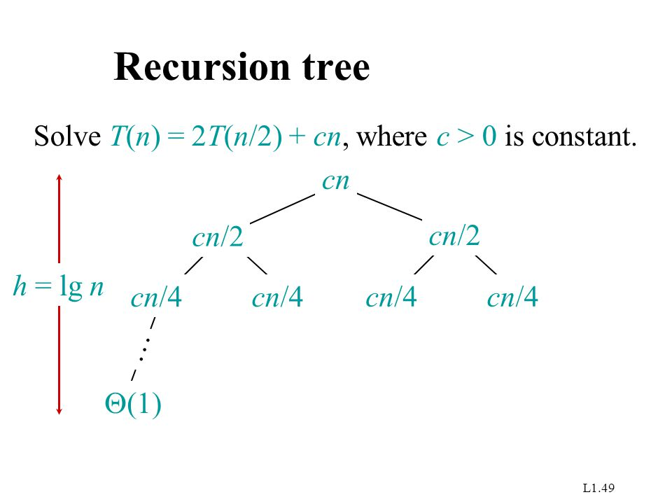 L1.49 Recursion tree Solve T(n) = 2T(n/2) + cn, where c > 0 is constant.