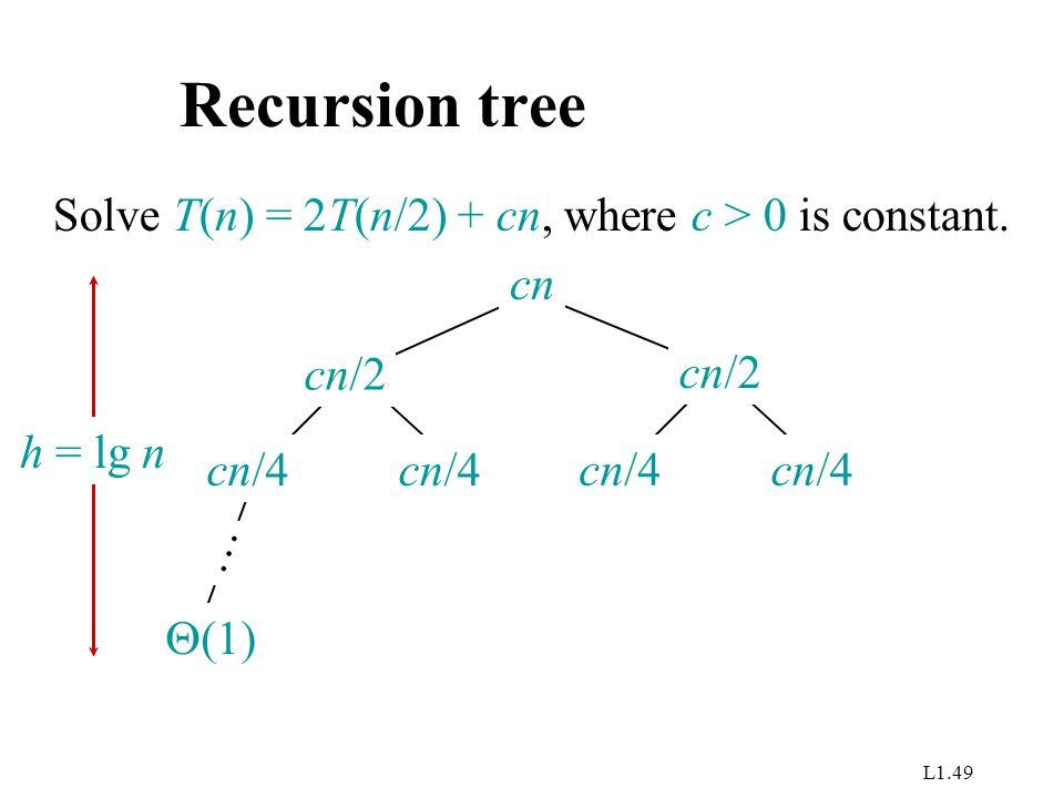 L1.49 Recursion tree Solve T(n) = 2T(n/2) + cn, where c > 0 is constant. cn cn/4 cn/2  (1) … h = lg n