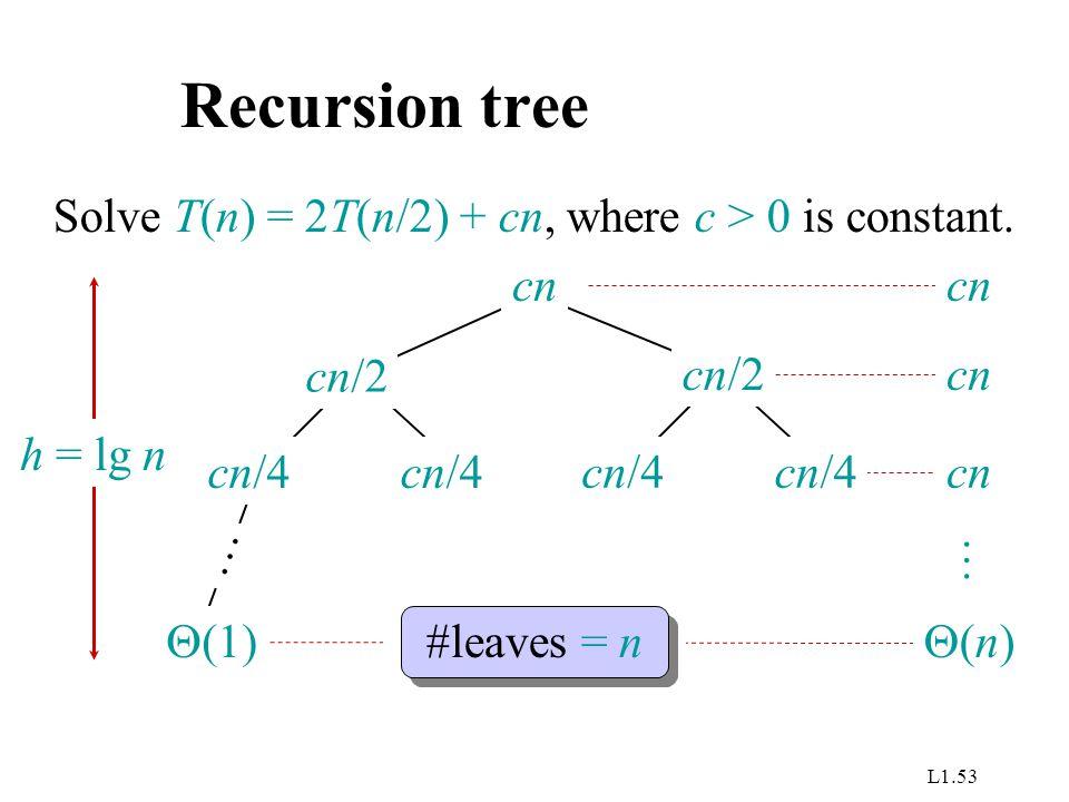 L1.53 Recursion tree Solve T(n) = 2T(n/2) + cn, where c > 0 is constant. cn cn/4 cn/2  (1) … h = lg n cn #leaves = n (n)(n) …