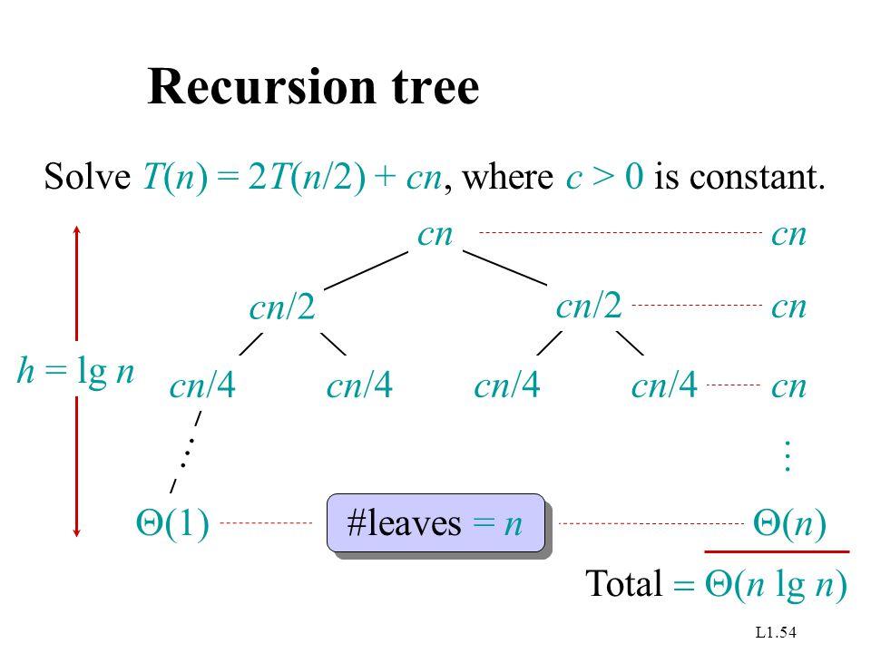 L1.54 Recursion tree Solve T(n) = 2T(n/2) + cn, where c > 0 is constant. cn cn/4 cn/2  (1) … h = lg n cn #leaves = n (n)(n) Total  (n lg n) …