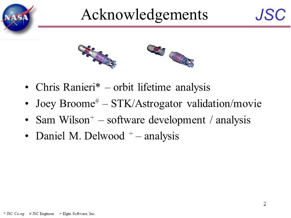 JSC 2 Acknowledgements Chris Ranieri* – orbit lifetime analysis Joey Broome # – STK/Astrogator validation/movie Sam Wilson + – software development / analysis Daniel M.