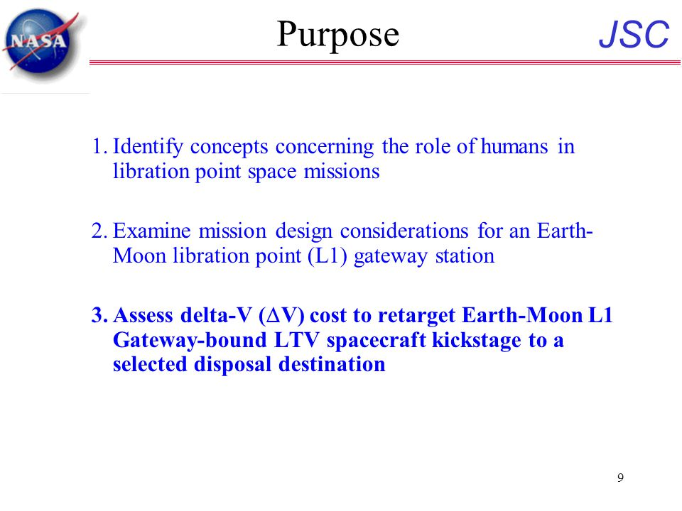 JSC 9 Purpose 1.Identify concepts concerning the role of humans in libration point space missions 2.Examine mission design considerations for an Earth- Moon libration point (L1) gateway station 3.Assess delta-V (  V) cost to retarget Earth-Moon L1 Gateway-bound LTV spacecraft kickstage to a selected disposal destination