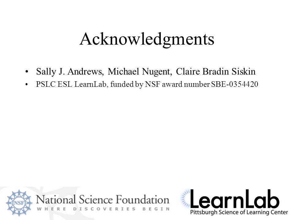 Acknowledgments Sally J.