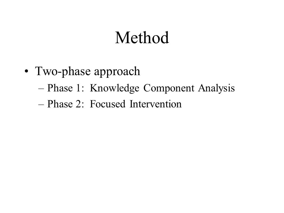 Method Two-phase approach –Phase 1: Knowledge Component Analysis –Phase 2: Focused Intervention