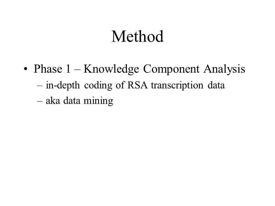 Method Phase 1 – Knowledge Component Analysis –in-depth coding of RSA transcription data –aka data mining