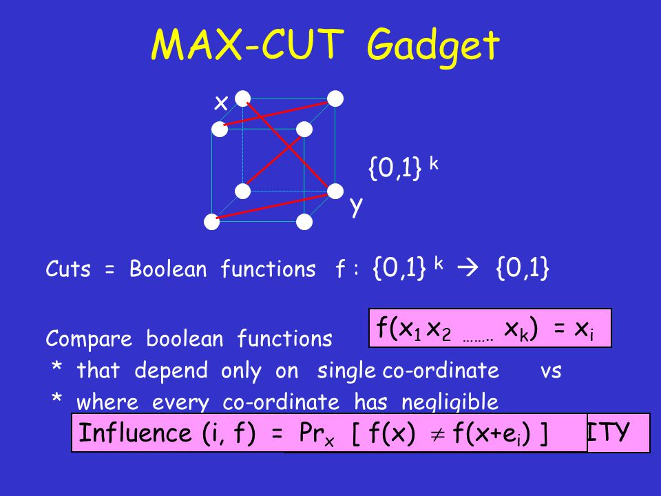MAX-CUT Gadget Cuts = Boolean functions f : {0,1} k  {0,1} Compare boolean functions * that depend only on single co-ordinate vs * where every co-ordinate has negligible influence (i.e.